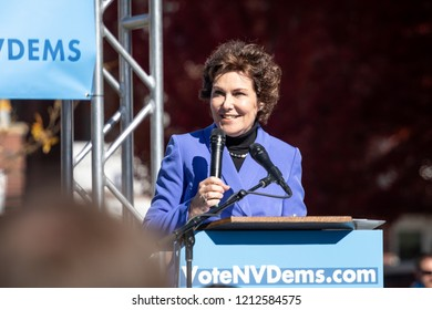 RENO, NV - October 25, 2018 - Jacky Rosen smiling during speech at a political rally on the UNR campus.