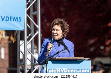 RENO, NV - October 25, 2018 - Jacky Rosen talking at a political rally on the UNR campus.