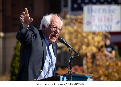 RENO, NV - October 25, 2018 - Bernie Sanders waving arms during a speech at a political rally on the UNR campus.