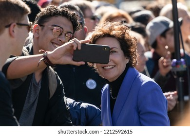 RENO, NV - October 25, 2018 - Jacky Rosen taking a selfie with attendee at a political rally on the UNR campus.