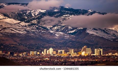 Reno, NV / USA - March 20 2019: Reno at sunrise.