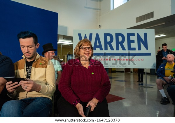 RENO, NV/U.S.A. - FEBRUARY 16, 2020: Openly lesbian Warren supporter De Calvert of Sacramento smiles prior to an Elizabeth Warren town hall event at Reno High School prior to the Nevada caucuses.