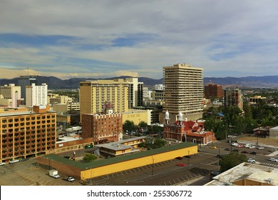 RENO, USA - AUGUST 12: Aerial view of apartment buildings on August 12, 2014 in Reno, USA.  Reno is the most populous Nevada city outside of the Las Vegas.