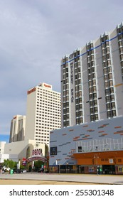 RENO, USA - AUGUST 12: Apartment building complex and casinos on August 12, 2014 in Reno, USA.  Reno is the most populous Nevada city outside of the Las Vegas.