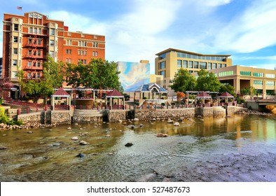 RENO, USA - AUGUST 12: Apartment buildings along Truckee river on August 12, 2014 in Reno, USA. Reno is the most populous Nevada city outside of the Las Vegas.