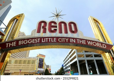 """RENO, USA - AUGUST 12: """"The Biggest Little City in the World"""" sign  over Virginia street on August 12, 2014 in Reno, USA.  Reno is the most populous Nevada city outside of the Las Vegas."""