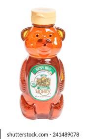 Reno, USA, : December, 2nd 2011: Bear shaped bottle of Busy Bee brand organic honey.