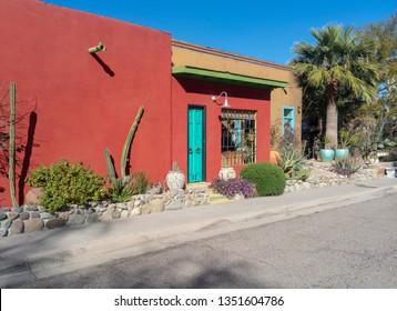 Renovated adobe building in Tucson, Arizona.