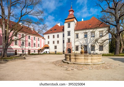 Renovated castle in southern Bohemia in Trebon. The castle attracts visitors to the beautiful interiors and the neighbouring park.