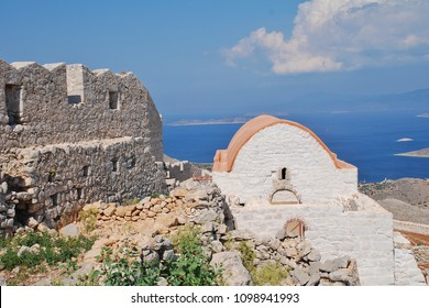 The renovated chapel in the ruins of the medieval Crusader Knights castle in the hills above Emborio on the Greek island of Halki.