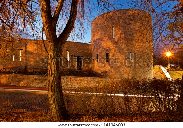 Renovated city walls in Zatec town. Czech Republic.