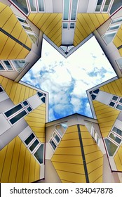 Renovated cube houses in Rotterdam, Netherlands. Bottom view