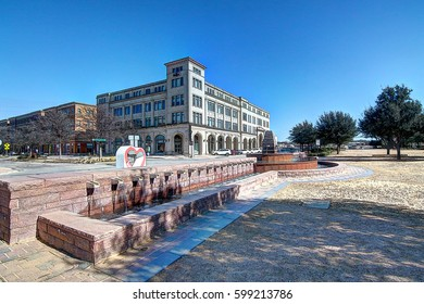 Renovated downtown landscape featuring a water fountain