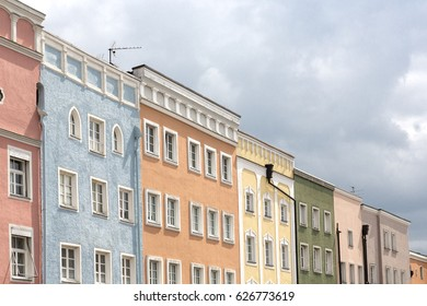 Renovated historic houses in the town of Muehldorf, Bavaria, Germany