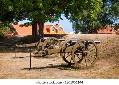 Renovated muzzle-loading cannons at Staverns Fortress (Fredriksvern), Larvik, Vestfold, Norway