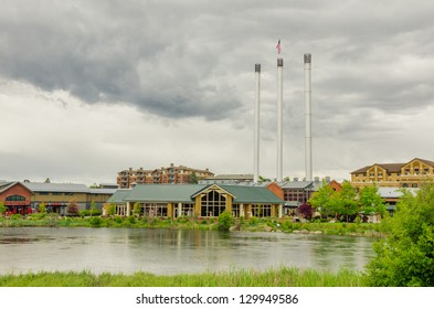 Renovated Old Industrial Plant and Cloudy Sky