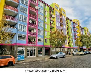 Renovated row of houses in berlin westend, germany