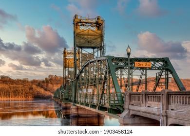The renovated Stillater Lift Bridge at dusk in Stillwater, Minnesota.