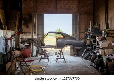 Renovating a car at the farm