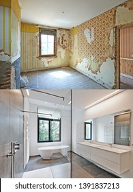 Renovation of a bathroom Before and after in vertical format