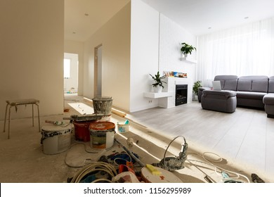 Renovation before and after - renovating empty apartment room ,