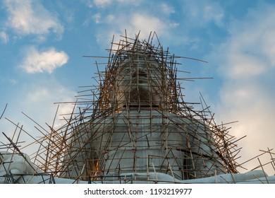 Renovation of Buddha statue, Wat Phra Bat Phu Phan
