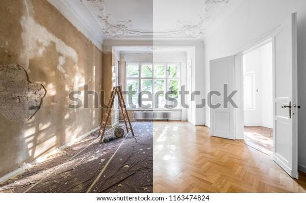 Renovierungskonzept - Wohnung vor und nach der Restaurierung oder Renovierung -