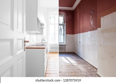 renovation concept - kitchen room before and after refurbishment or restoration