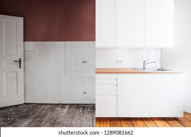 renovation concept - old and new kitchen before and after refurbishment or restoration