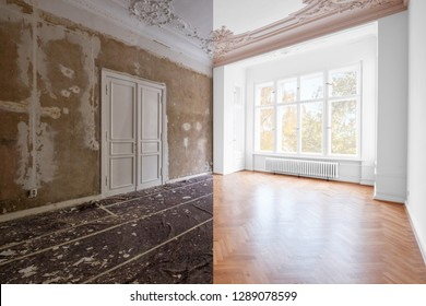 renovation concept - room in apartment before and after renovation works.  plastered and painted walls, white doors and wooden oak parquet floor