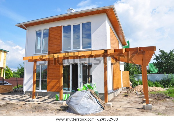 Renovation House Wall Insulation Plastering Stucco Stock Photo Edit Now 624352988