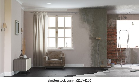 Renovation interior. 3D render