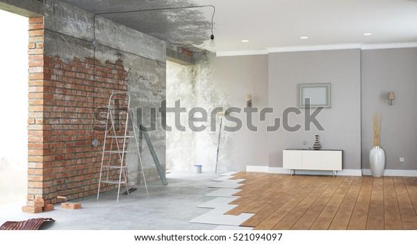 Renovierung des Innenraums. 3D-Darstellung