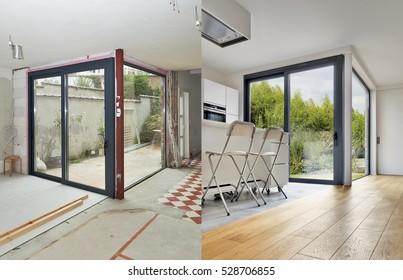 Renovierung eines modernen Apartments im Vorher und Nachher in horizontalem Format