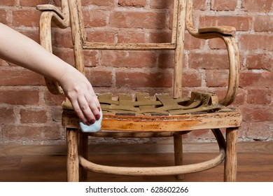 Beautiful Renovation Of Old Furniture   An Old Wooden Armchair. We Polish The Old  Varnish And