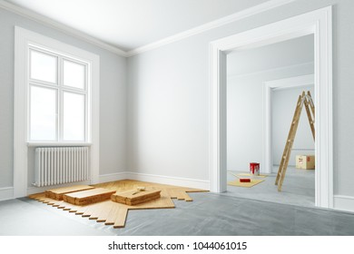 Renovation and parquet laid by craftsmen in an elegant apartment (3D Rendering)