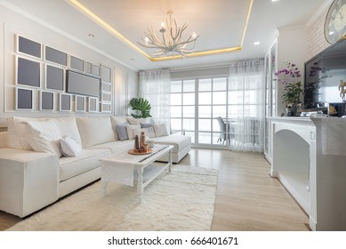 Renovation White Living Room The seaside ambience is decorated with fondness of all white tones.