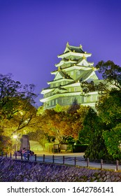 Renowned Crow Castle or Ujo Castle in Okayama City on the Asahi River in Japan With Traditional Maples in The Foreground. Vertical Composition