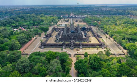 The renowned world heritage site of Angkor Wat Temples, ariel view shot from DJI dro