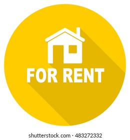 for rent flat design yellow round web icon