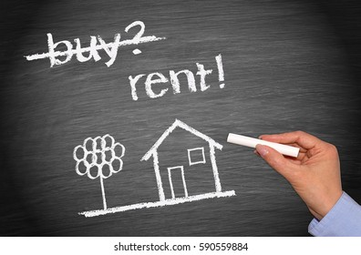 Rent a House or Home - chalkboard with text and sketch