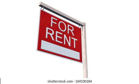 For Rent Real Estate Sign - separated on white background