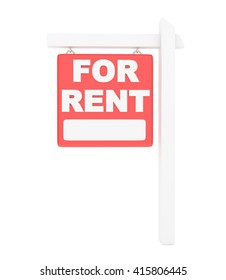 For rent sign lease real estate on white background. 3D rendering.