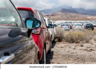 Rental cars in Tenerife parked outside the airport during the coronavirus crisis. Pandemic time and no tourist left 40 000 cars unused