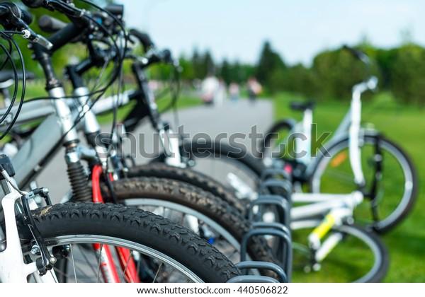 Rental city bike station in Kiev, Ukraine