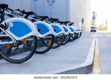 rented bicycles in a row