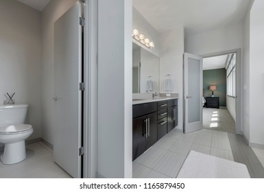 Renton, WA / USA - Aug. 23, 2018: Luxury bathroom interior