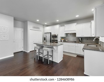 Renton, WA / USA - Jan. 12, 2019: Luxury kitchen interior