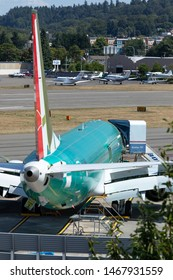 Renton, Washington / USA - July 31 2019: Boeing 737 MAX airliner factory in Renton, where the 737 MAX 8, MAX 9, and MAX 10 models are manufactured
