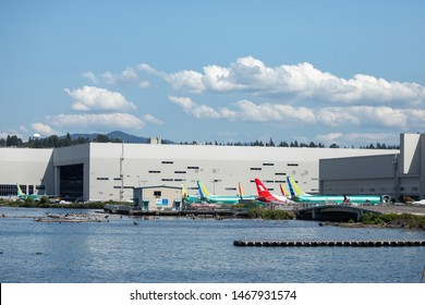 Renton, Washington / USA - July 31 2019: Backlog of grounded Boeing 737 MAX airliners parked outside the Renton factory, home to the 737 MAX 8, MAX 9, and MAX 10 production lines